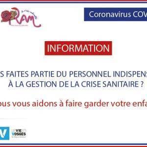Coronavirus : Dispositif de garde des enfants des personnels prioritaires et soignants.