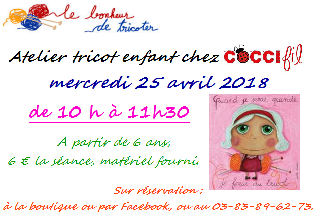 COCCIfil atelier tricot enfants avril 2018